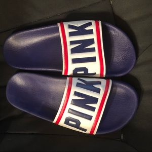 PINK Victoria's Secret Shoes - 🏷Vs PINK red, white, and blue slides